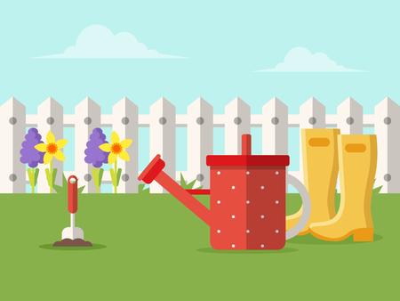 Spring Garden, Flowers and Gardening Equipment. Flat Design Style.
