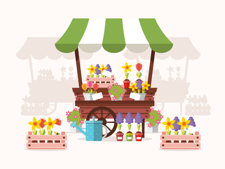 Flower Stand with Spring Flowers. Flat Design Style.