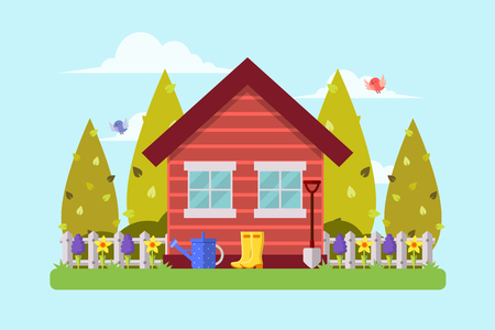 Spring Garden and House. Flat Design Style.