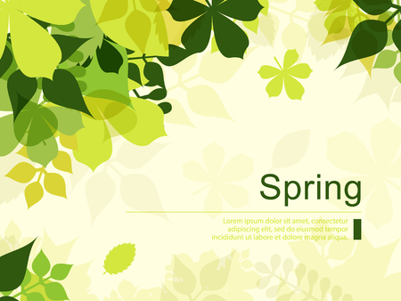 Spring Background with Green Leaves.