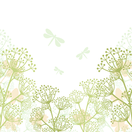 Floral Spring Background with Wildflowers. Stock Illustratie