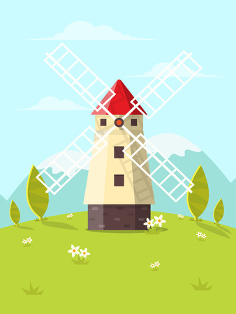 Nature Landscape Background with Windmill. Flat Design Style.