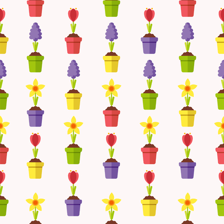 Seamless Pattern with Spring Flowers in Flowerpots. Flat Design Style.