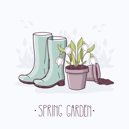 Spring Garden. Rubber Boots and Flowerpot with Snowdrops.