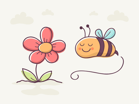 smiing: Hand Drawn Cute Bee and Flower.