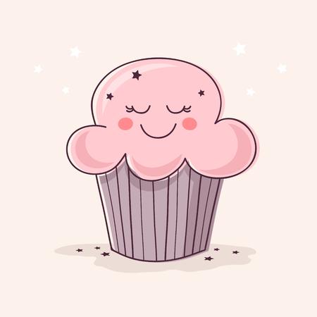 Handgetekende Leuke Cupcake.