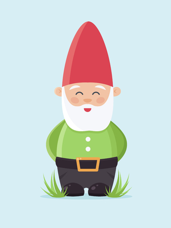Garden Gnome on Blue Background. Flat Design Style.