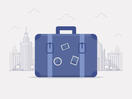 Summer Vacation in City Concept. Travel Bag in front of a Big City. Flat Design Style. Stock Illustratie