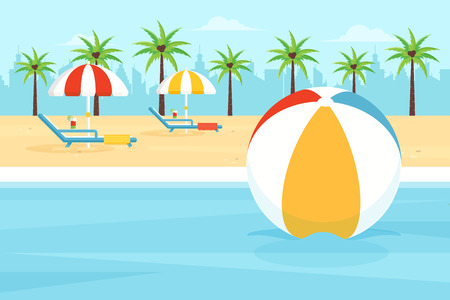 City Beach Vector Illustration with Palm Trees, Beach Balls and Parasols. Flat Design Style.