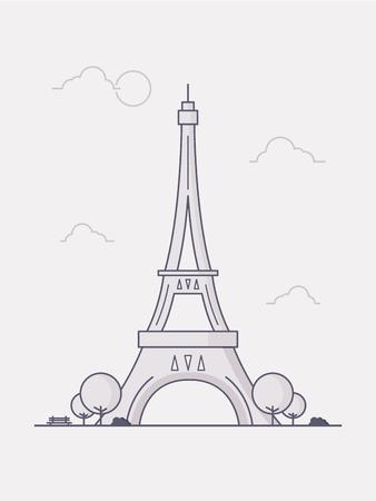 Line Art Vector Illustratie van de Eiffeltoren. Stockfoto - 77535949