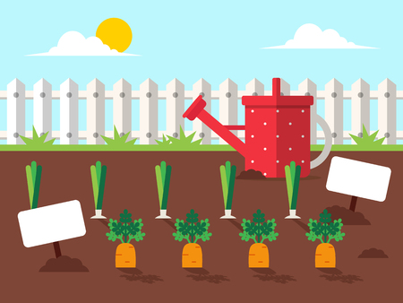 Garden with Vegetables and Watering Can. Flat Design Style.