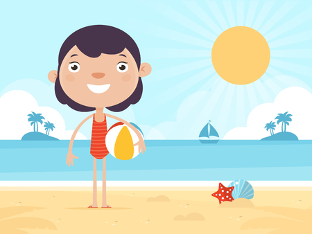 Leuk Meisje Dat Stond Op Een Strand Met Strandbal. Vlakke Design Style. Stock Illustratie