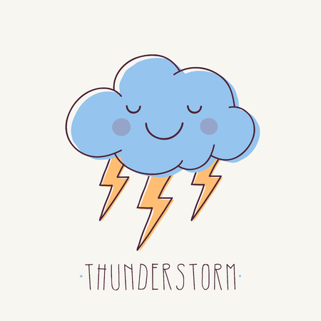 Vector Illustration of Cute Storm Cloud with Flashes of Lightning and Text.