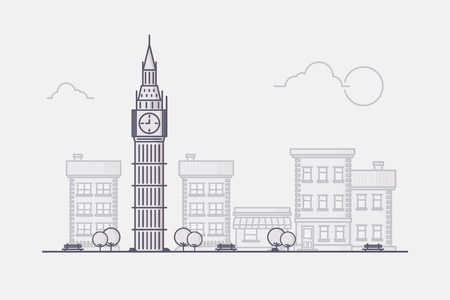 London City with its Famous Landmark Big Ben and Town Buildings in the Background. Flat Design Style. Stock Illustratie