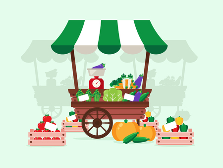 Local Market. Stand with Vegetables- Carrot, Tomato, Pepper, Pumpkin, Asparagus. Flat Design Style. Stock Illustratie