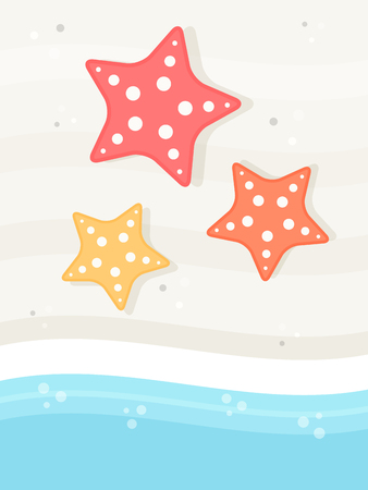 Background with Starfish on a Beach with Sea Waves Flat Design Style. Stock Illustratie