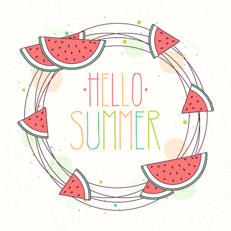 Hand Drawn Wreath with Watermelon and Hello Summer Text, Vector Illustration.