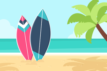 Surfboards and Palm Tree on the Beach. Flat Design Style. Stock Illustratie