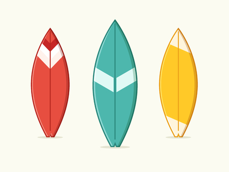 Set of Blue, Yellow and Red Surfboard. Flat Design Style.