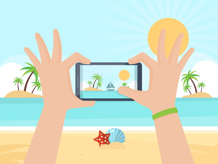 Tourist Taking Picture on Summer Vacation with his Smartphone. Flat Design Style.