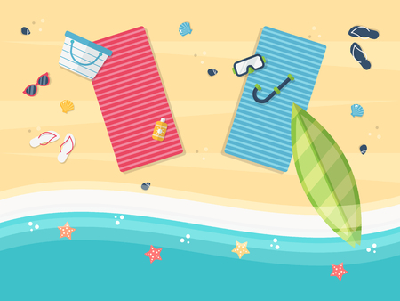 Summer Sand Beach with Blue and Pink Towel and Beach Accessories-Surfboard, Beach Bag, Sunglasses, Sun Cream, Flip Flops, Diving Mask. Flat Design Style.