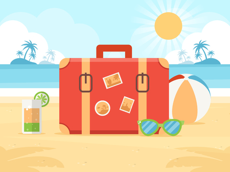Summer Vacation Concept. Travel Bag, Cocktail, Sunglasses and Beach Ball on a Beach.