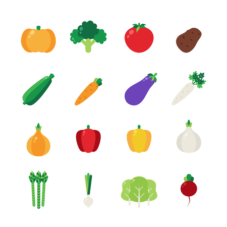 Icon set with vegetables. Flat design style. Stock Illustratie