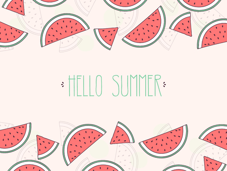 Watermelon Background with Hello Summer Text, Vector Illustration.