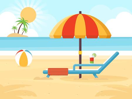 Strand Landschap Met Strandparaplu, Strandstoel, Cocktail En Een Bal. Vlakke Design Style. Stock Illustratie
