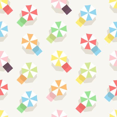 Kleurrijke Paraplu Naadloze Patroon. Vlakke Design Style. Stock Illustratie
