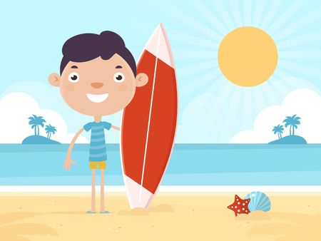 Smiling Boy on Summer Vacation with Surfboard Standing on a Sunny Beach.