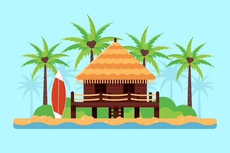 Bungalow auf einem Sand-Strand mit Palmen und Surfbrett. Flache Design-Stil.