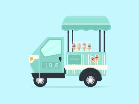 Kleine Ice Cream Truck Met Ice Cream Cones. Vlakke Design Style.