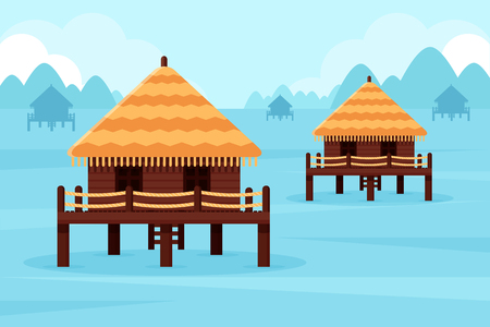 Bungalows in Ocean Bay. Flat Design Style.
