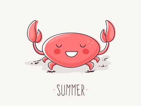 Hand Drawn Cartoon Illustration of Cute Smiling Crab with Summer Text.
