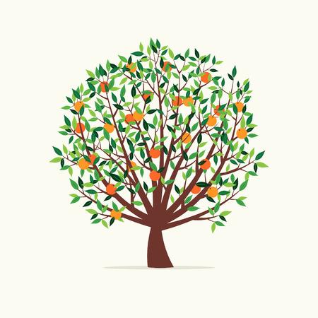 Vectorillustratie van een oranje boom. Vlakke Design Style.
