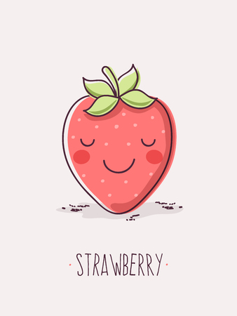 Cute Strawberry Fruit Character.