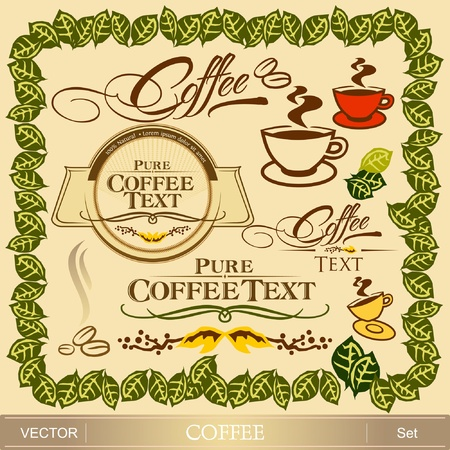 green coffee beans: Coffee design set