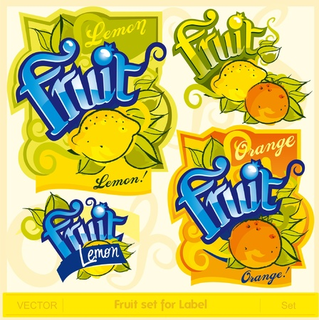 Fruit set for label Stock Vector - 11509552