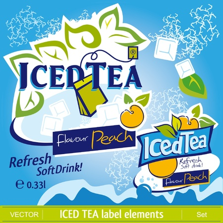 flavor: Iced Tea label elements Illustration