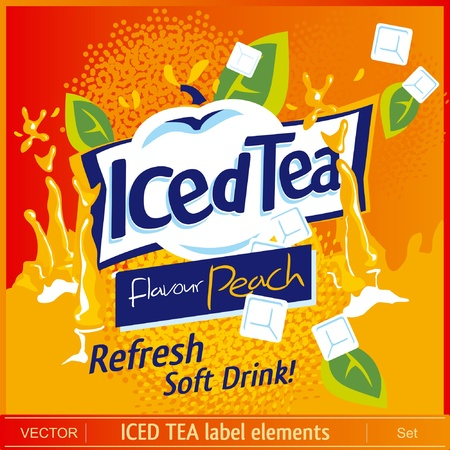 ice tea: Iced Tea label elements Illustration