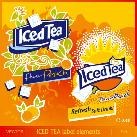 Iced Tea label elements Vector