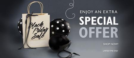 Black Friday-Verkaufsbanner mit Recyclingpapierbeutel, verziert mit schwarzem Satinband und schwarzen Ballons. Grauer Hintergrund