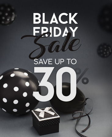 Black Friday sale banner, with black balloons and grey background. Stock fotó - 88807830