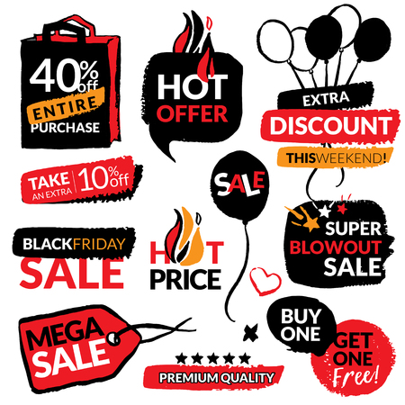 Set of flat modern and hand drawn design sale stickers. Collection of vector illustrations for on line shopping, product promotions, website badges, ads, flyers. 向量圖像