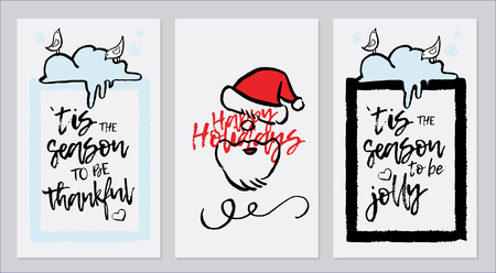 Vector set of hand drawn of greeting cards. Great print for invitations, posters, tags. Merry Christmas.Happy New Year. Happy holidays. Festive banners in flat cartoon style, vintage colors