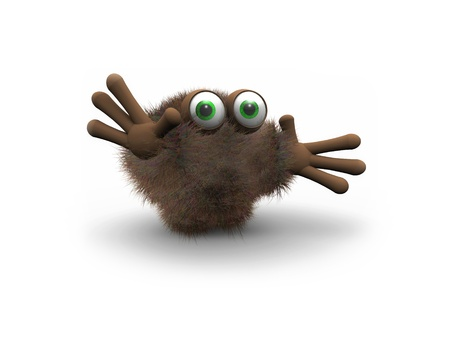 Brown furry puppet with green eyes isolated on white background  photo