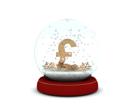 Snow globe with golden pound and snowflakes isolated on white background photo