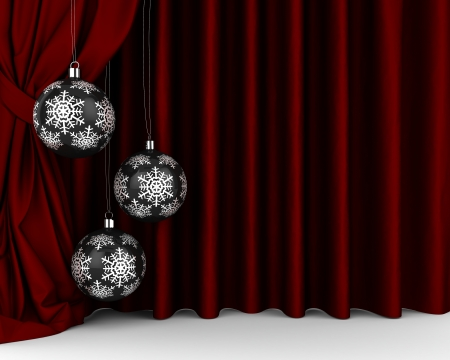 winter theater: Black New Year s balls with silver snoweflakes on it in front of red drapery  Stock Photo