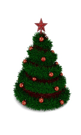 Christmas tree with red star on top isolated on white background photo